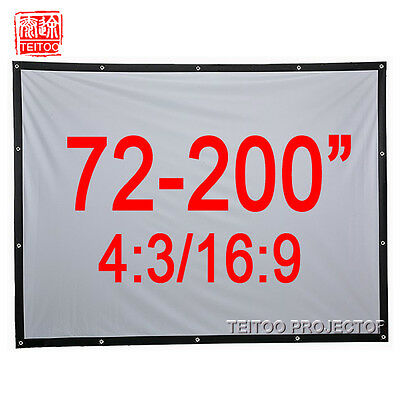 72-200 Inches White Portable Beamer HD Projector Projection Screen Curtains Film