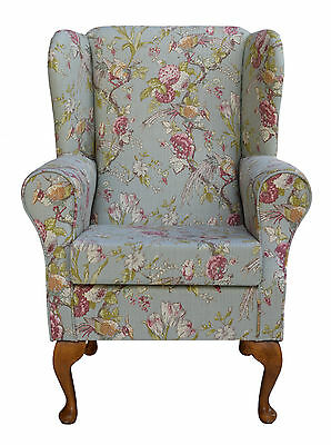 Wingback Fireside Chair in a Duck Egg Renaissance Fabric - Brand New