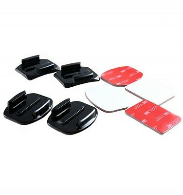 4 Pieces New Flat & Curved Mounts with 3M Adhesive Pads for GoPro Hero Cameras