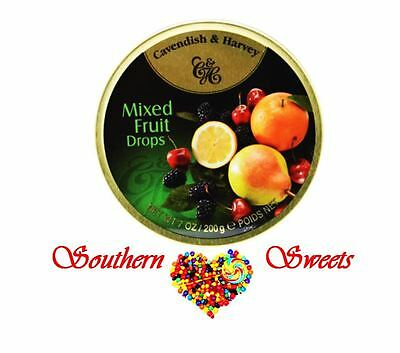 Cavendish and Harvey Mixed Fruit Drops Lollies Candy 10 x 200g C&H travel tins