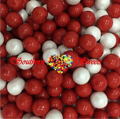 Pearly Red & White Sixlets Candy Balls 750G Lollies Candy Buffet Bulk