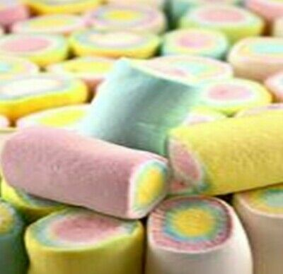 Marshmallow Rolls 1Kg Pastel Green Pink Blue Yellow White Candy Buffet Lollies