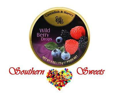 Cavendish and Harvey Wild Berry Drops 10x175g C&H Wildberry tins candy lollies