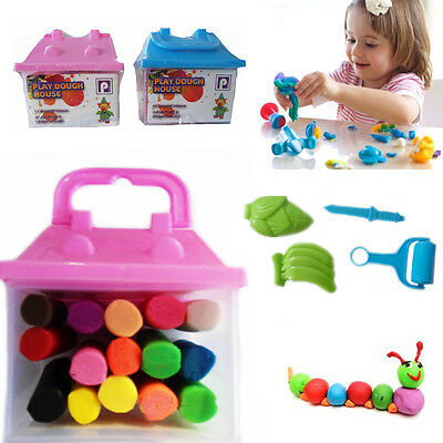 2 Play Dough Doh Set Clay Mud Moulding Craft Kids Activity Shape Toy Fun Gift