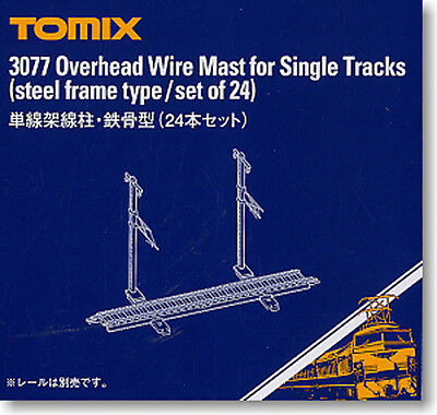 TOMIX N Scale 3077 Overhead Wire Mast for Single Tracks (Steel Frame Type/24pcs)