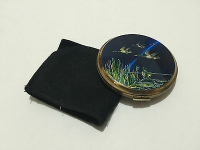 Vintage Solid Brass Blue Duck Compact Powder Case - Free Postage