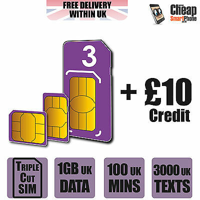 Three 3 UK Network Nano/Micro/Standard PAYG Sim Card + £10 Credit -Mobile/Tablet