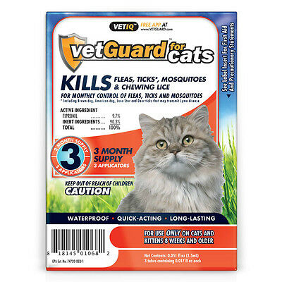 Vet guard for Cats Monthly Flea, Tick, Mosquitoe Treatment 3 Month Treatment