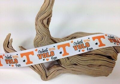 "7//8/"" TENNESSEE VOLS CUTEST LITTLE FAN GROSGRAIN RIBBON BY THE YARD USA SELLER"