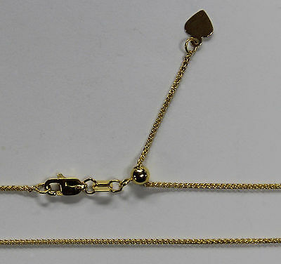 """14kt 14K Yellow Solid Gold 1mm Wheat Necklace Chain Lobster Adjustable up to 22"""""""