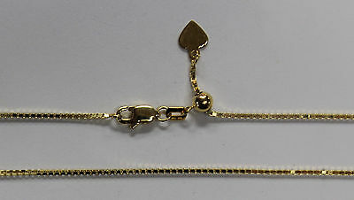 """14kt 14K Yellow Solid Gold .8mm Box Necklace Chain Lobster Adjustable up to 22"""""""