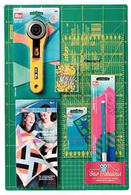 Quilters Starter Kit Cutting Board, Rotary Cutter, Ruler, Pen, Pins, Needles