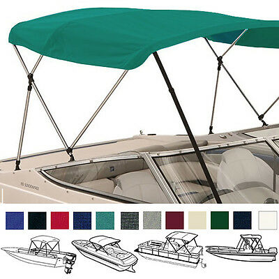 "Bimini Top Boat Cover Teal 3 Bow 72""l 46""h 67""-72""w - W/ Boot & Rear Poles"