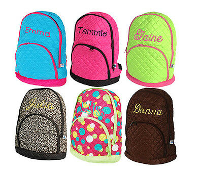 Personalized Quilted Kids Girl School Book Bag Backpack Monogram Name Embroidery