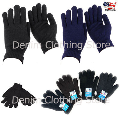 WHOLESALE LOTS MEN WOMEN MAGIC WINTER SOLID MIX COLORS WARM KNITTED GLOVES Xmas