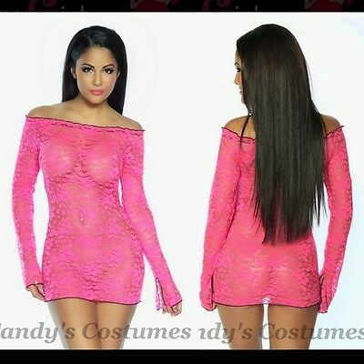 Hot PINK Stretch LACE Lingerie DRESS Top CHEMISE Long Sleeve OFF-the-SHOULDER