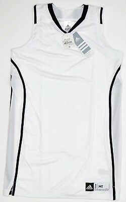Adidas Performance Pro Team Basketball Jersey Womens TALL White Black NEW 5809