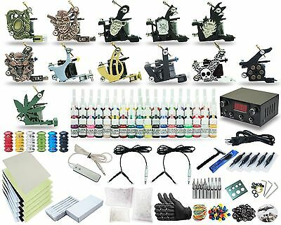 Complete Tattoo Kit 12 machines Set Gun 40 Color Inks Power Supply Footdal TK-54
