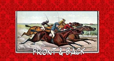 Horse Racing Kentucky Derby Belmont Stakes Jockey Vintage Vinyl Checkbook Cover