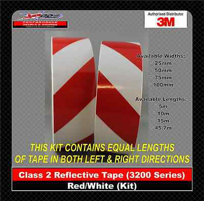 3M Red/White Class 2 (3200 Series) Reflective Tape 50mm x 45.7m KIT