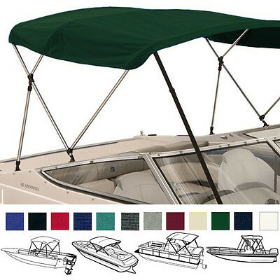 "Bimini Top Boat Cover Green 3 Bow 72""l 36""h 85""-90""w - W/ Boot & Rear Poles"