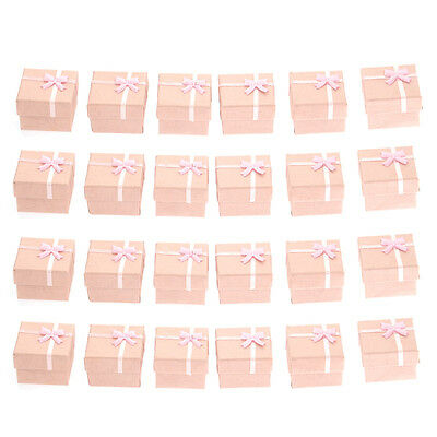 Wholesale 24Pcs Ring Earring Jewelry Display Gift Box Bowknot Square Case