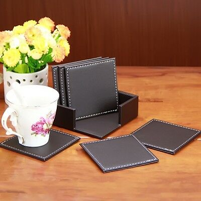 PU Drink Coasters Cup Mat Set of 6 with Coaster Holder 2 Color Available HOT