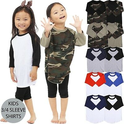 KIDS T Shirts Baseball RAGLAN Tee 3/4 Sleeve Jersey Boys Girls Baby High Quality