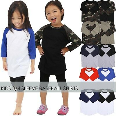 KIDS Baseball T Shirts RAGLAN Tee Jersey Boys Girls Baby 3/4 Sleeve High Quality