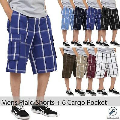 Mens PLAID SHORTS Checkered Pants Cargo Multi pocket light weight S-5XL Slim