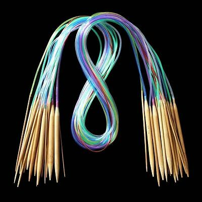 18 Sizes Muiticolor Double Pointed Carbonized Bamboo Circular Knitting Needles