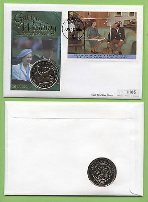 Liberia 1997 Golden Wedding $1 Coin (Couple with Horse) & M/S First Day Cover