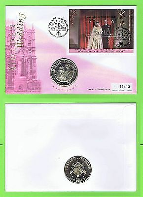 Turks & Caicos 1997 QEII Golden Wedding m/s on Mercury Five Crowns Coin FDC