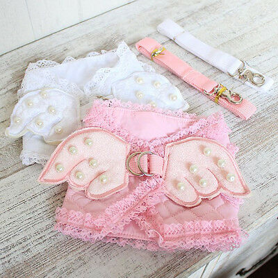 Dog Cat Pet Harness Puppy Cat Safety Control Collar Vest Lace Angel Wings Leash