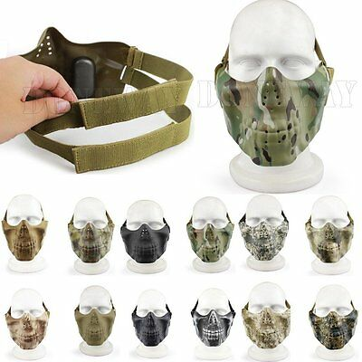 Protective Gear Half Face Skull Mask Tactical Hunting/Paintball/Airsoft/ CS Game