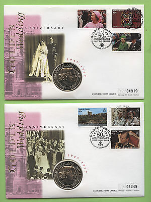 Turks & Caicos 1997 Golden Wedding set on two Coin First Day Covers