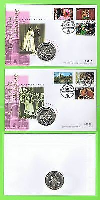 Turks & Caicos 1997 QEII Golden Wedding issues on two Mercury 5 Crowns Coin FDCs