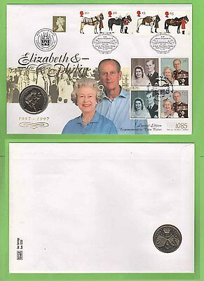 GB 1997 QEII Golden Wedding Commem Mercury £5 Coin Cover Various Cancels