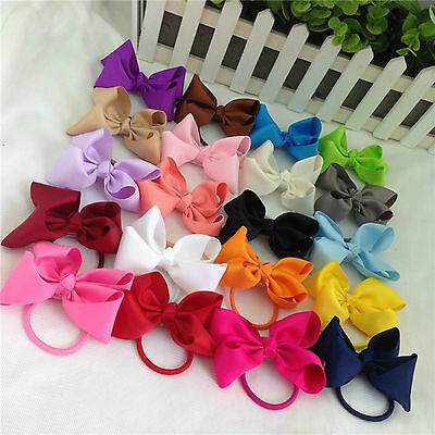 10pc Kid Girls hair bow ponytails band bobbles Tie Rope ponio grossgrain ribbon