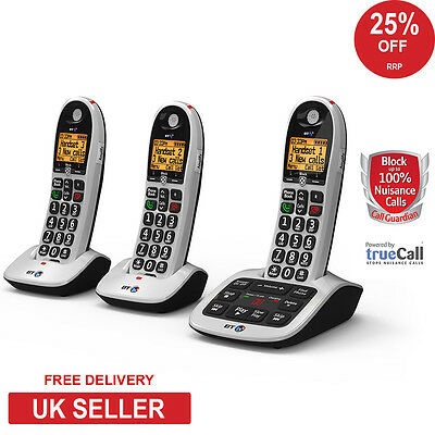 BT 4600 Big Button Trio DECT Cordless Phone with Advanced Call Blocker