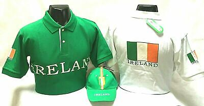 Ireland Football Euro Poloshirt Short Sleeve Cap/Hat Cotton Green White S M L XL