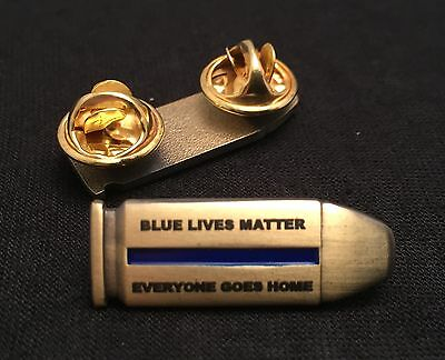 Thin Blue Line, Bullet, Police Pin, Blue Lives Matter, Antique Brass, 1xPin
