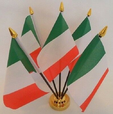 Italy Italian 5 Flag Flags Desktop Table Display Centrepiece Gold Base
