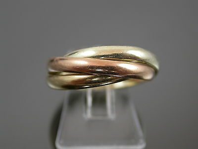 VINTAGE 9ct THREE COLOUR GOLD RUSSIAN WEDDING BAND RING