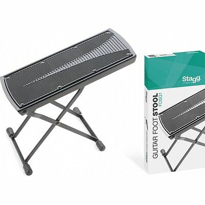 New Stagg FOSQ1 Foldable & Adjustable Black Foot Stool for Playing Guitar