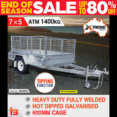 7x5 Heavy Duty Full Welded Galvanised Box Trailer With 600mm Cage