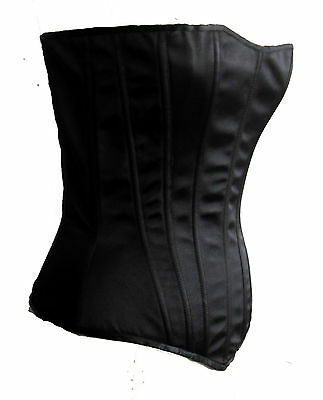 New Black Satin Laurie Hourglass Corset Metal Boned S Leg Avenue Bustiere Top