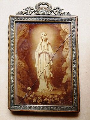 Antique Portrait Our Lady Lourdes Printed On Glass Made In France Circa 1860