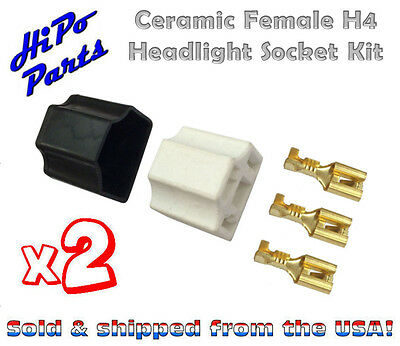 "2 x Ceramic Female H4 Headlight Socket Plug Kit w/ Terminals fits 7"" Round Lamps"