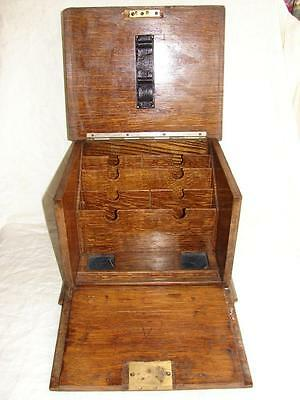 Victorian Tiger Oak Letter/stationary Box With Drop Front